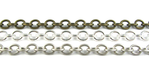 7mm Link Chain Bracelets (Antique Silver, Silver Plated, & Antique Brass)