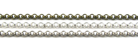 3.5mm Rolo Chain Bracelet (Antique Silver, Silver Plated, Antique Brass)