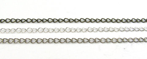 3mm Chain Necklace ( Antique Silver, Silver Plated, Antique Brass)