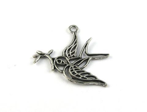 Flying Dove w/Fig Leaf Antique Silver Charm