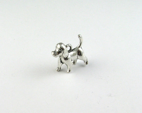Standing 3D Dog Antique Silver Charm