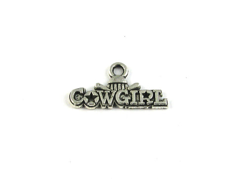 """Cowgirl"" w/Hat Antique Silver Charm"