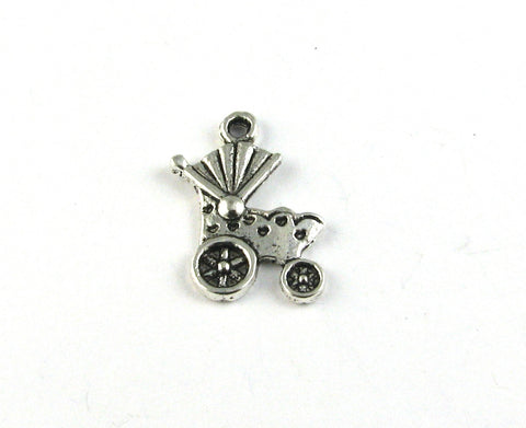 Old School Baby Stroller Antique Silver Charm