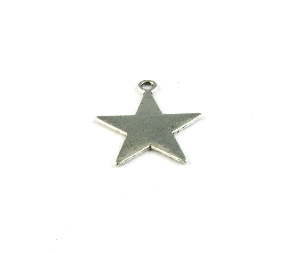 Flat Star Antique Silver Charm