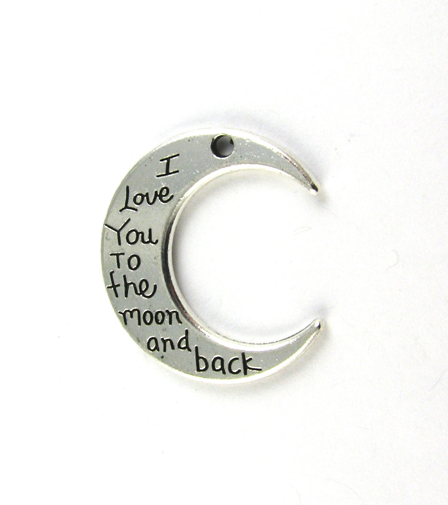"""I Love You to the Moon and Back"" Moon Antique Silver Charm"