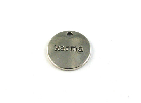 """Karma"" Antique Silver Charm"