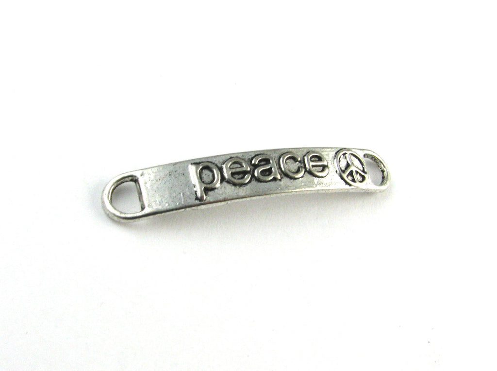 """Peace"" Antique Silver Curved Connector"