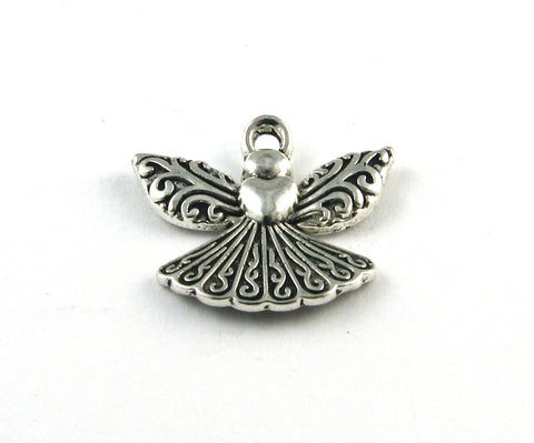 Angel w/Heart Antique Silver Charm