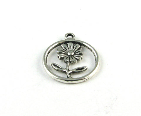 Daisy Antique Silver Charm
