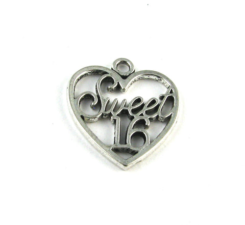 """Sweet 16"" Heart Antique Silver Charm"