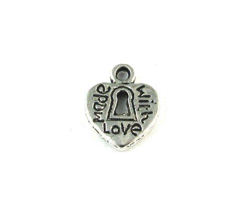 """Made with Love"" Heart w/Key Hole Antique Silver Charm"