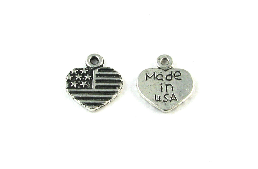 """Made in USA"" Heart w/Flag Design Antique Silver Charm"