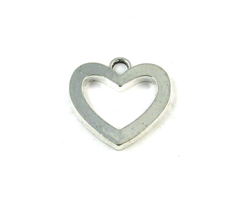 Open Heart Antique Silver Charm