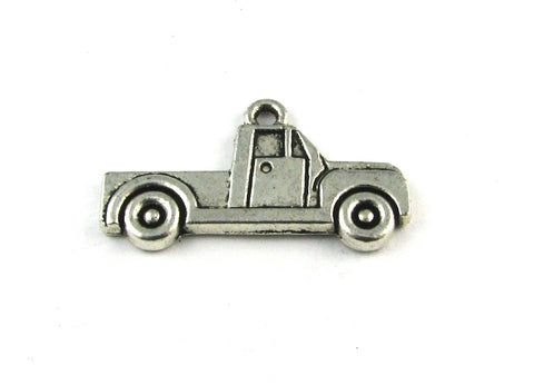 Flat Pickup Truck Antique Silver Charm