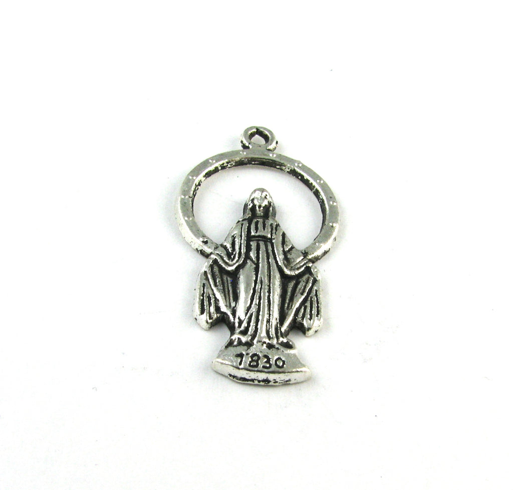 Saint Mary Pray for Us 1830 Antique Silver Charm