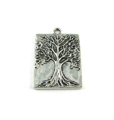 Tree of Life Stamp Antique Silver Charm