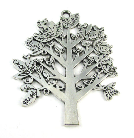 Tree w/Inspirational sayings Antique Silver Charm