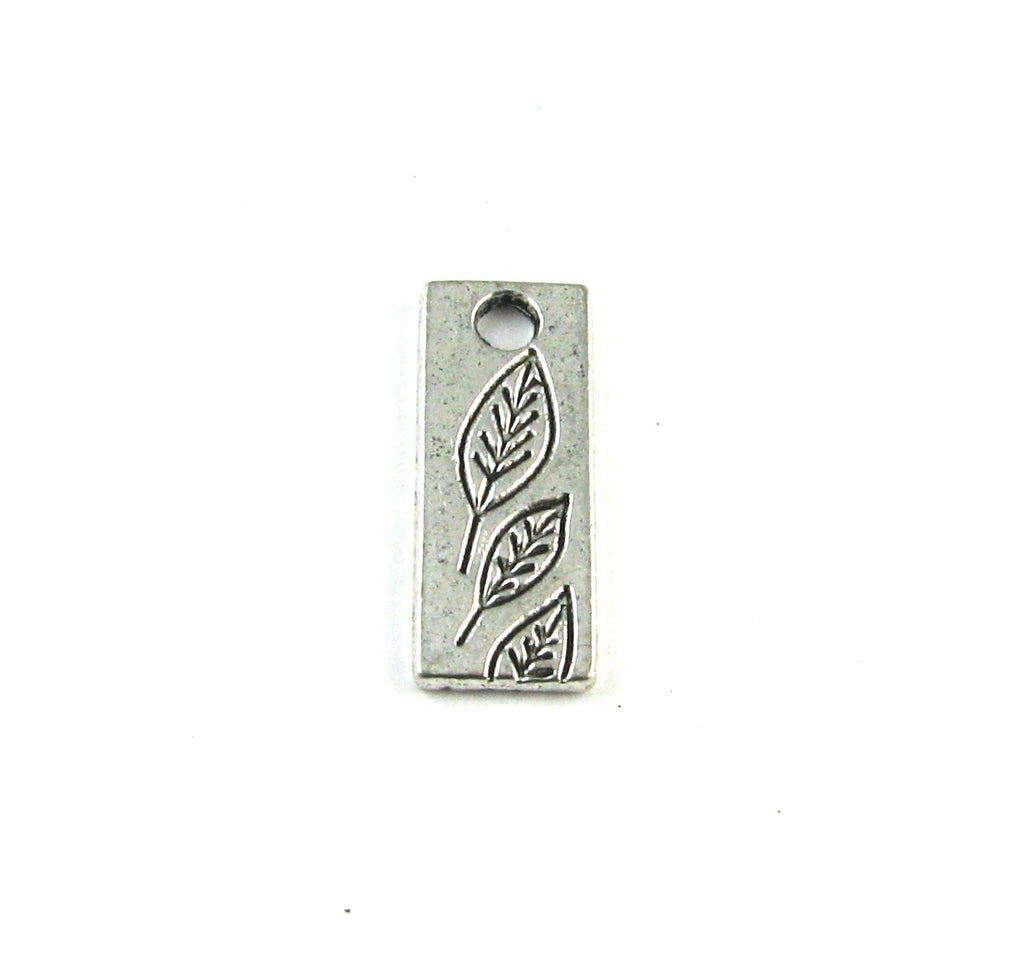 Leaf Stamped Antique Silver Charm