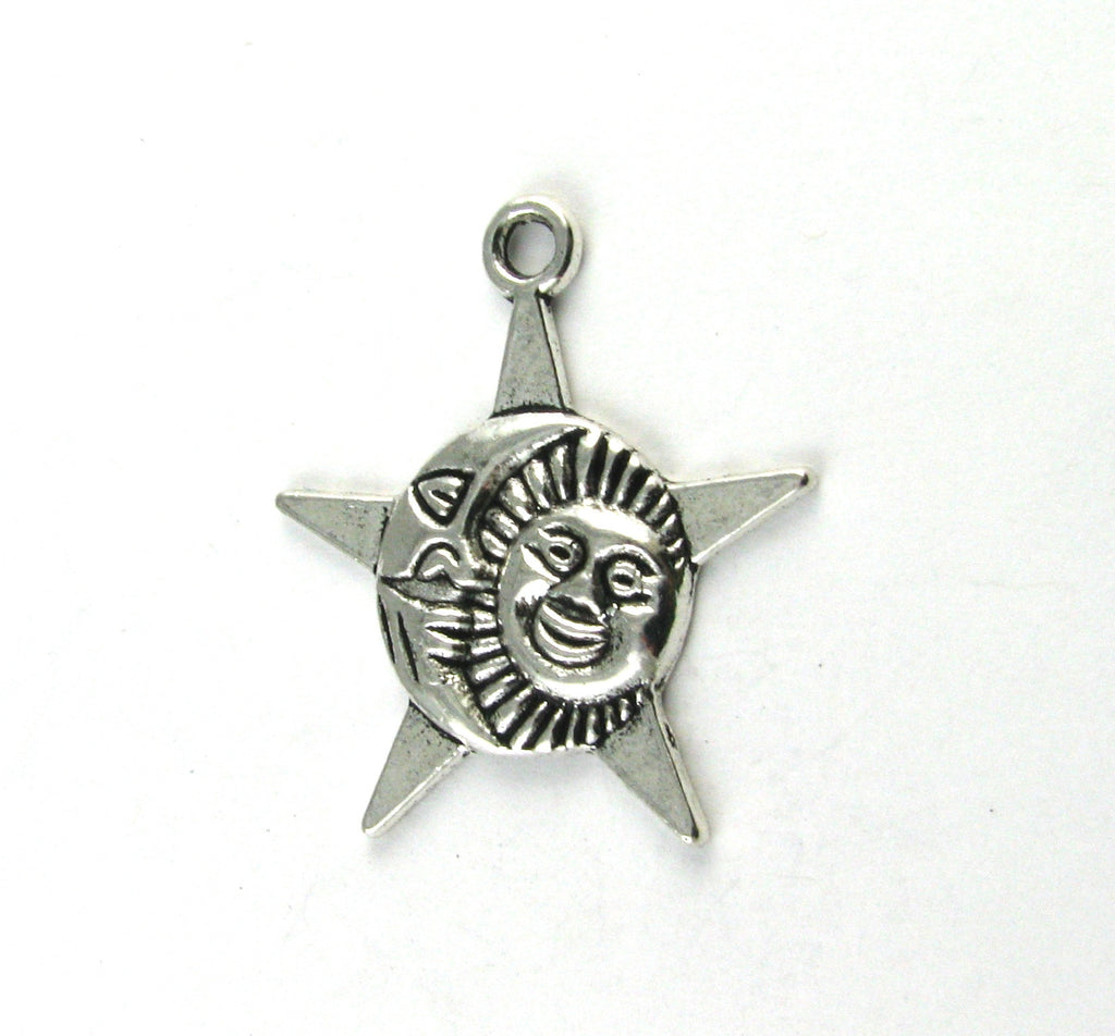 Sun, Moon, and Star Antique Silver Charm