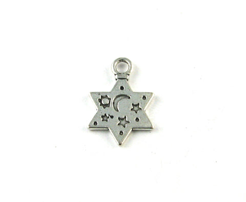 Flat Star w/Moon and Stars Stamps Antique Silver Charm