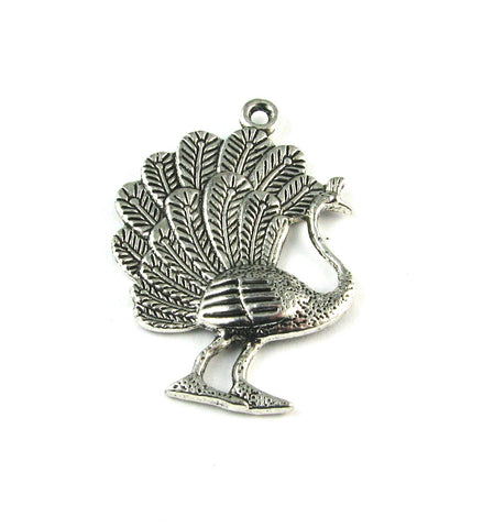 Standing Peacock Antique Silver Charm