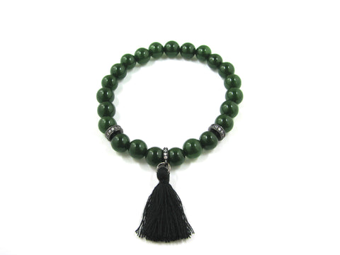 Genuine Green Jade Semi-Precious Stone w/Rhodium Black CZ and Black Tassel Stretchy Bracelet