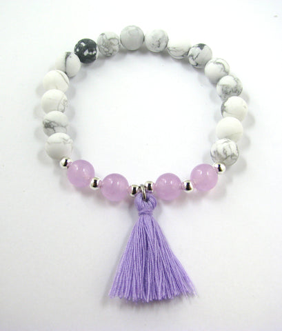 Matte White Howlite & Light Purple Jade Semi-Precious Stone w/Lavender Tassel Stretch Bracelet