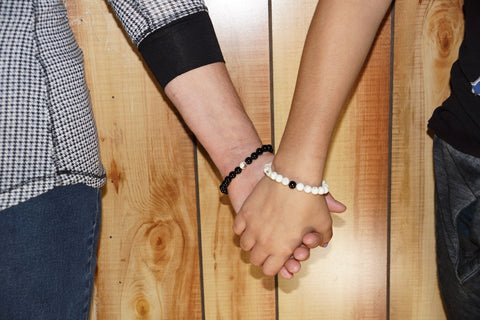 Together Forever Set w/Black Onyx & Ivory Magnesite Semi-Precious Stone