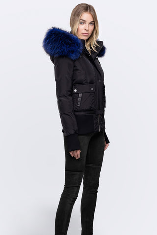 Nicole Benisti Fordham black blue fur fox best price sale