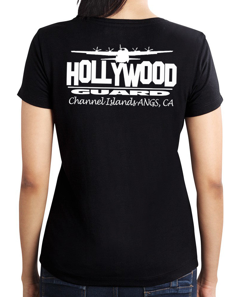 146th AW Hollywood Guard C-130  - Womans Cut T-Shirt Black - Limited Edition