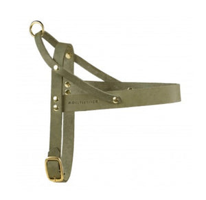 Butter Leather Dog Harness Olive Tree Green