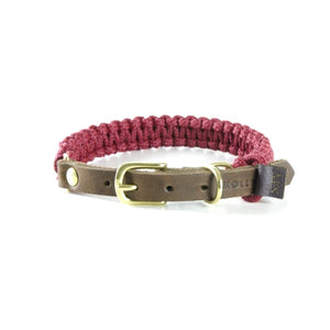 Touch Of Leather Collar Red Wine