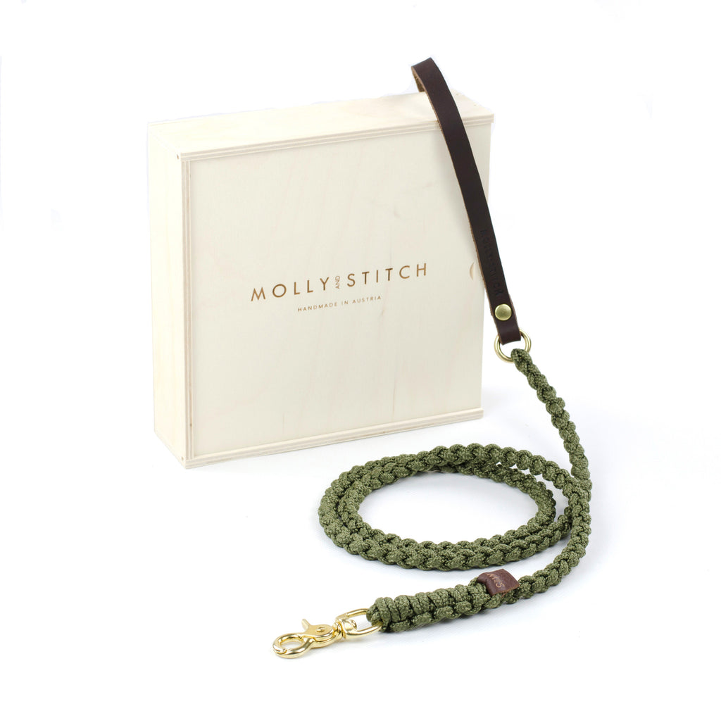Touch Of Leather Leash In Military