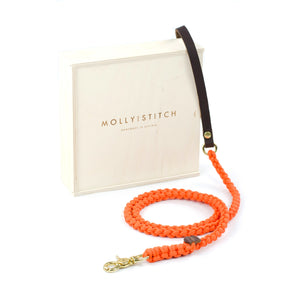 Touch Of Leather Leash In Pumpkin