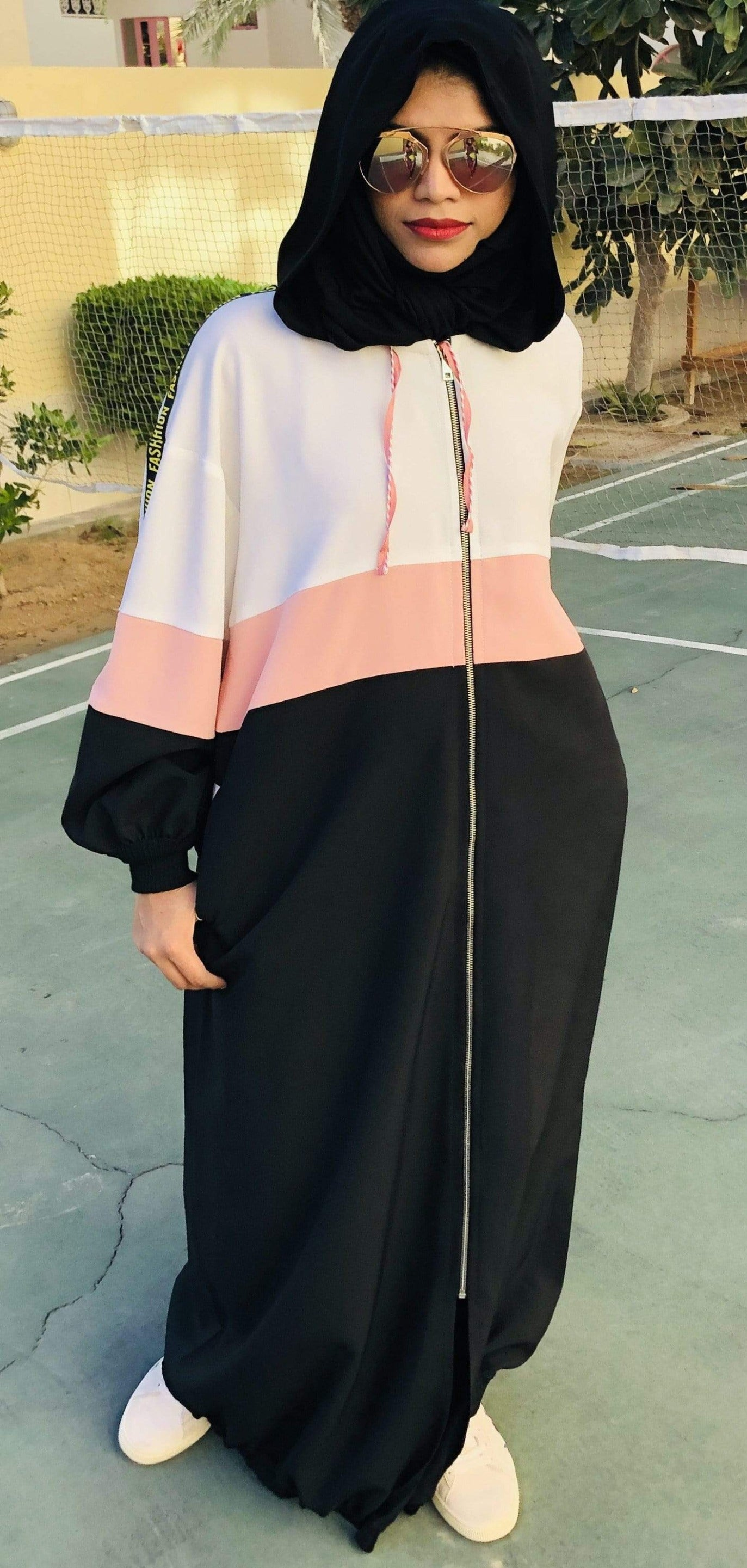 Fashion by shehna Abaya Sporty fashion strips abaya