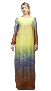 Shehna hussain Dress Medium / yellow Multicolour Zebra Dress