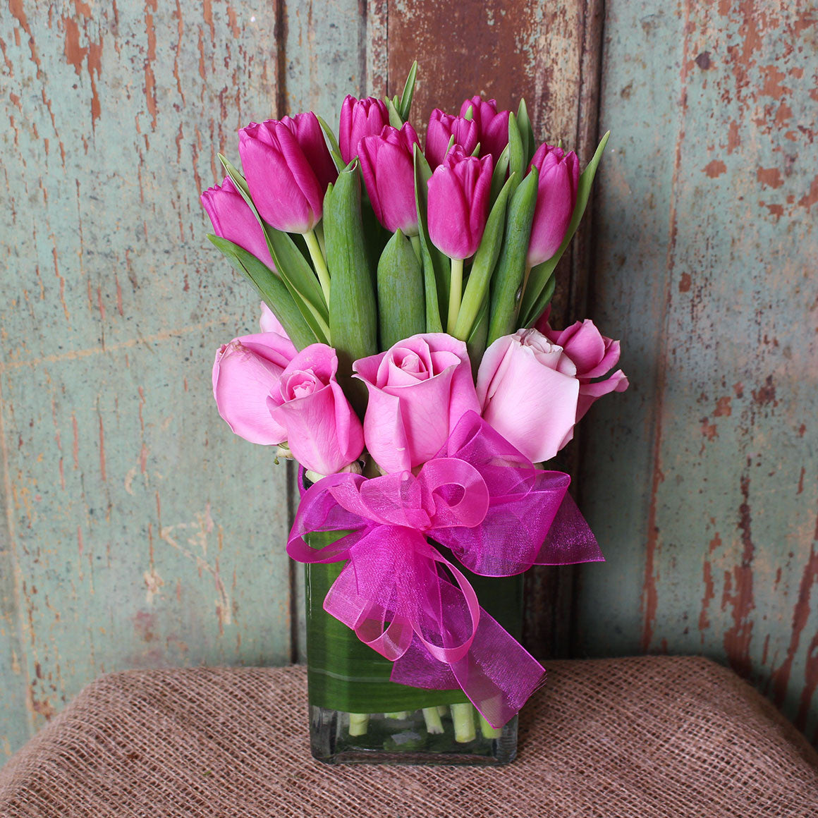 Pink Tulip And Rose Simplicity Mf 0031 Mendham Flower Shop