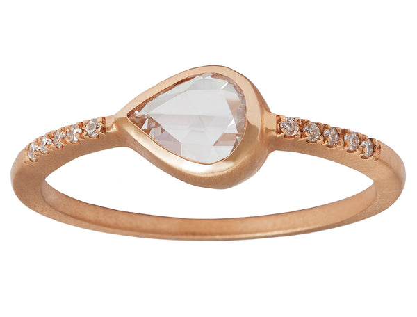 0.50ct Pear White Diamond & Pavé Rose Gold Bezel Ring