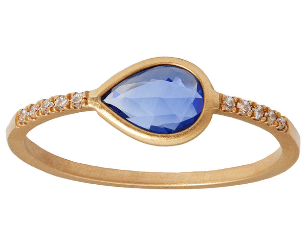 0.50ct Pear Sapphire & Pavé Diamond Gold Ring
