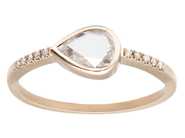 0.50ct Pear Rose-cut Diamond & White Gold Pavé Ring