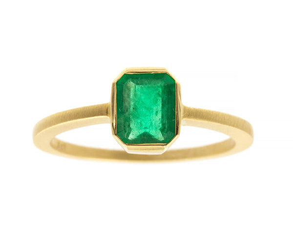 0.71-carat Emerald & Yellow Gold Ring