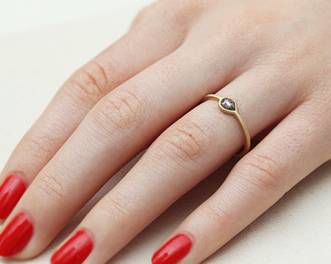 0.30ct Pear Grey Diamond & Yellow Gold Ring