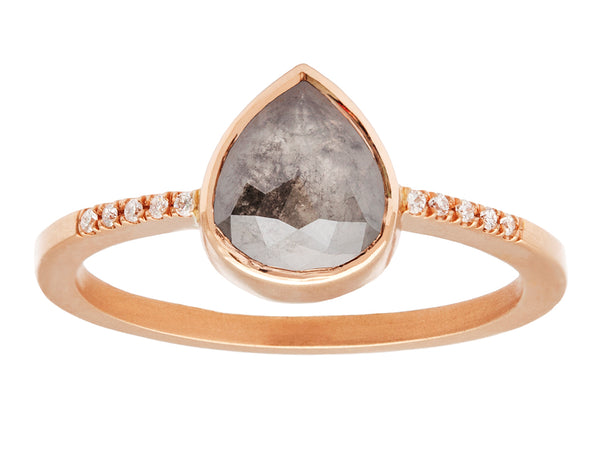 1.03ct Pear Rose-cut Grey Diamond & Rose Gold Pavé Ring