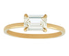 1 carat Emerald Cut White Diamond Prong Set East-West in Gold Ring