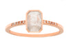 1.18ct Cushion Pale Grey Diamond & Rose Gold Diamond Pavé Bezel Ring