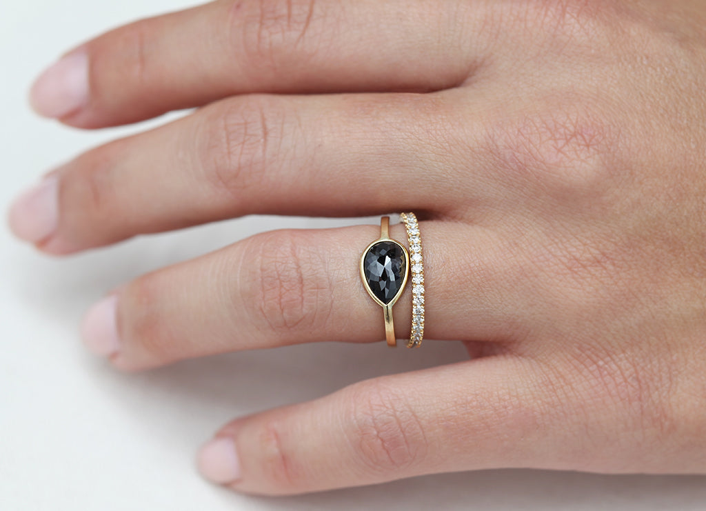 1.50ct Pear Rose-cut Black Diamond & Yellow Gold Wire Ring