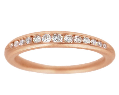Large White Diamond Rose Gold Taper Band