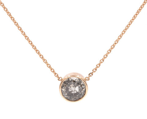 1-Carat Round Rose Cut Grey Diamond Necklace