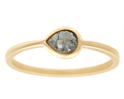 0.34ct Pear Grey Rose-cut Diamond & Yellow Gold Wire Ring