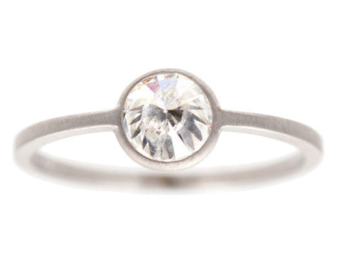 1ct Inverted White Diamond & White Gold Ring